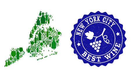 Vector collage of wine map of New York City and best grape wine grunge stamp. Map of New York City collage designed with bottles and grape berries bunches. Vetores