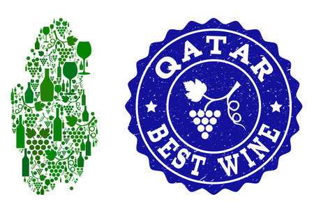 Vector combination of wine map of Qatar and best grape wine grunge seal stamp. Map of Qatar collage created with bottles and grape berries bunches.