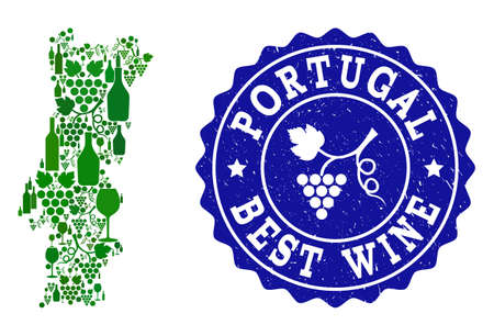 Vector collage of wine map of Portugal and best grape wine grunge seal stamp. Map of Portugal collage composed with bottles and grape berries bunches. Ilustração