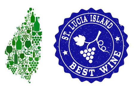 Vector collage of wine map of Saint Lucia Island and best grape wine grunge stamp. Map of Saint Lucia Island collage composed with bottles and grape berries bunches. Illustration