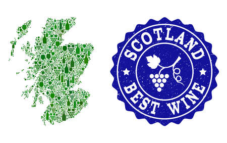 Vector collage of wine map of Scotland and best grape wine grunge stamp. Map of Scotland collage created with bottles and grape berries bunches.