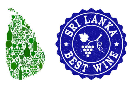 Vector collage of wine map of Sri Lanka and best grape wine grunge seal stamp. Map of Sri Lanka collage formed with bottles and grape berries bunches.