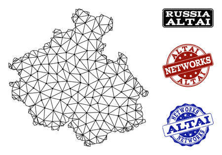 Black mesh vector map of Altai Republic isolated on a white background and grunge stamp seals for networks. Abstract lines, dots and triangles forms map of Altai Republic.  イラスト・ベクター素材