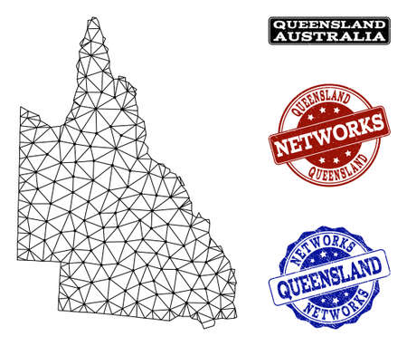 Black mesh vector map of Australian Queensland isolated on a white background and grunge stamp seals for networks. Abstract lines, dots and triangles forms map of Australian Queensland.