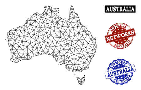 Black mesh vector map of Australia isolated on a white background and scratched watermarks for networks. Abstract lines, dots and triangles forms map of Australia. Иллюстрация