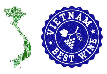 Composizione vettoriale della mappa dei vini del Vietnam e del miglior timbro grunge di vino d'uva. Mappa del Vietnam collage creato con bottiglie e grappoli di acini d'uva. Vettoriali