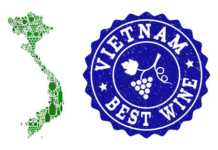 Vector composition of wine map of Vietnam and best grape wine grunge stamp. Map of Vietnam collage created with bottles and grape berries bunches. Ilustração Vetorial