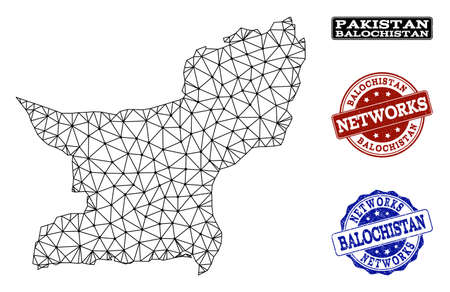 Black mesh vector map of Balochistan Province isolated on a white background and scratched watermarks for networks. Abstract lines, dots and triangles forms map of Balochistan Province. Иллюстрация