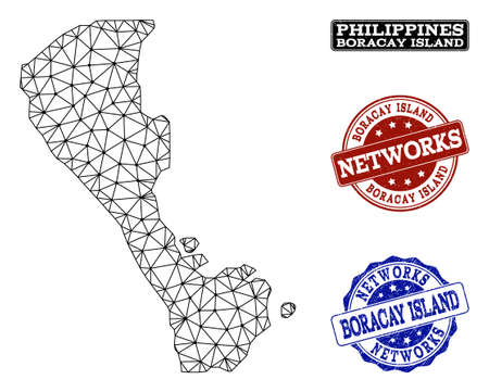 Black mesh vector map of Boracay Island isolated on a white background and rubber stamp seals for networks. Abstract lines, dots and triangles forms map of Boracay Island. Illustration