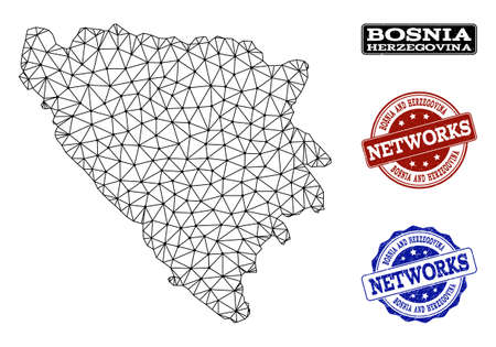 Black mesh vector map of Bosnia and Herzegovina isolated on a white background and rubber watermarks for networks. Abstract lines, dots and triangles forms map of Bosnia and Herzegovina. Illustration