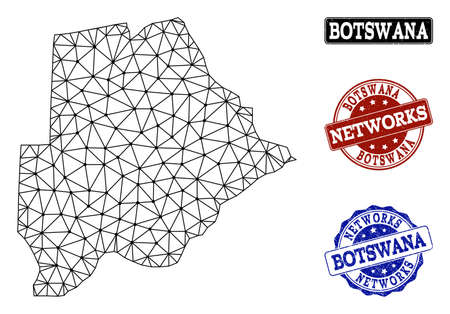 Black mesh vector map of Botswana isolated on a white background and rubber stamp seals for networks. Abstract lines, dots and triangles forms map of Botswana.