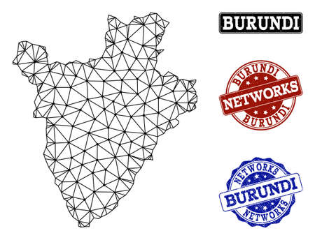 Black mesh vector map of Burundi isolated on a white background and rubber stamp seals for networks. Abstract lines, dots and triangles forms map of Burundi.