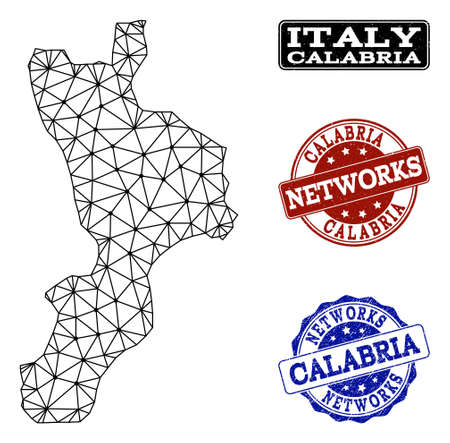 Black mesh vector map of Calabria region isolated on a white background and rubber stamp seals for networks. Abstract lines, dots and triangles forms map of Calabria region. Illustration