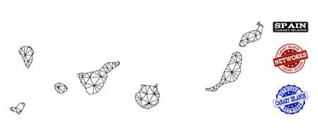 Czarna siatka wektorowa mapa Wysp Kanaryjskich na białym tle na białym tle i porysowane znaki wodne dla sieci. Abstrakcyjne linie, kropki i trójkąty tworzą mapę Wysp Kanaryjskich. Ilustracje wektorowe