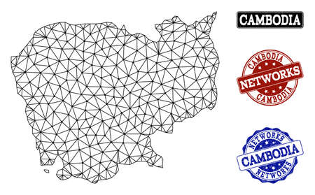 Black mesh vector map of Cambodia isolated on a white background and grunge stamp seals for networks. Abstract lines, dots and triangles forms map of Cambodia.
