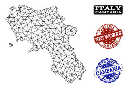 Black mesh vector map of Campania region isolated on a white background and rubber watermarks for networks. Abstract lines, dots and triangles forms map of Campania region. Illusztráció