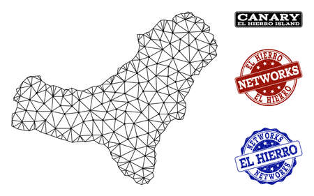 Black mesh vector map of El Hierro Island isolated on a white background and rubber stamp seals for networks. Abstract lines, dots and triangles forms map of El Hierro Island.