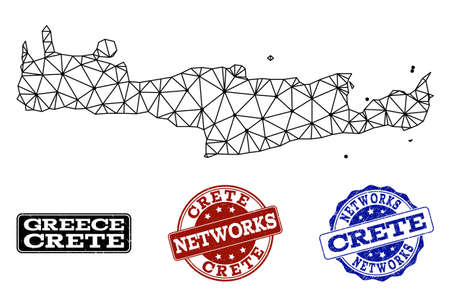 Black mesh vector map of Crete Island isolated on a white background and rubber watermarks for networks. Abstract lines, dots and triangles forms map of Crete Island.