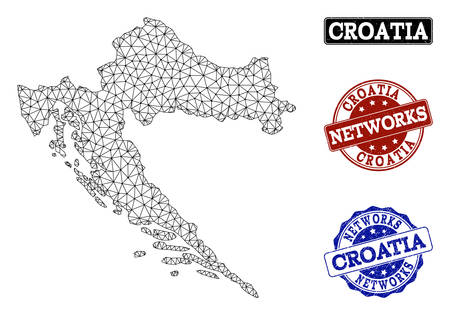 Black mesh vector map of Croatia isolated on a white background and scratched watermarks for networks. Abstract lines, dots and triangles forms map of Croatia.