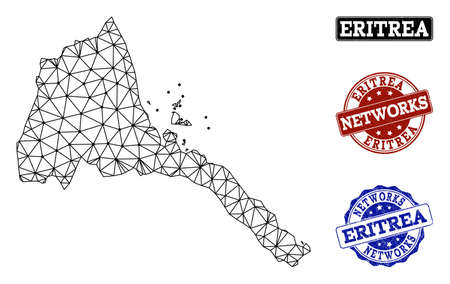 Black mesh vector map of Eritrea isolated on a white background and rubber stamp seals for networks. Abstract lines, dots and triangles forms map of Eritrea.