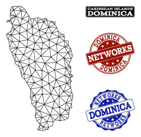 Black mesh vector map of Dominica Island isolated on a white background and rubber stamp seals for networks. Abstract lines, dots and triangles forms map of Dominica Island.