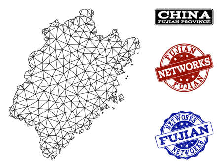 Black mesh vector map of Fujian Province isolated on a white background and scratched stamp seals for networks. Abstract lines, dots and triangles forms map of Fujian Province.