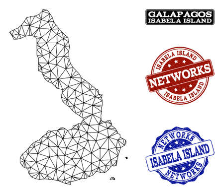 Black mesh vector map of Galapagos - Isabela Island isolated on a white background and scratched stamp seals for networks. Abstract lines, dots and triangles forms map of Galapagos - Isabela Island.