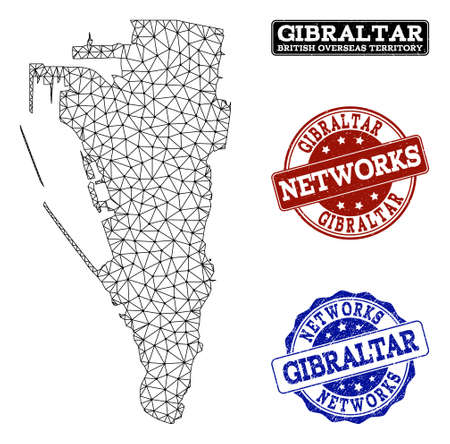 Black mesh vector map of Gibraltar isolated on a white background and scratched watermarks for networks. Abstract lines, dots and triangles forms map of Gibraltar.
