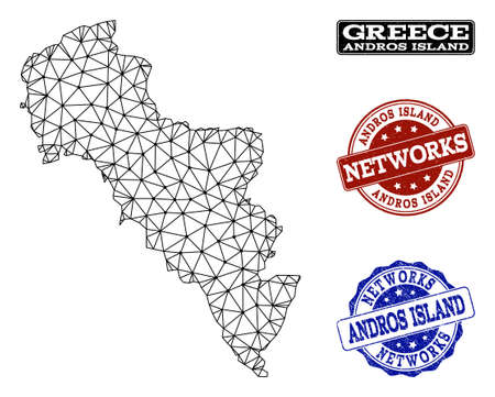 Black mesh vector map of Greece - Andros Island isolated on a white background and rubber stamp seals for networks. Abstract lines, dots and triangles forms map of Greece - Andros Island.