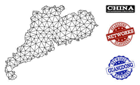 Black mesh vector map of Guangdong Province isolated on a white background and grunge stamp seals for networks. Abstract lines, dots and triangles forms map of Guangdong Province.