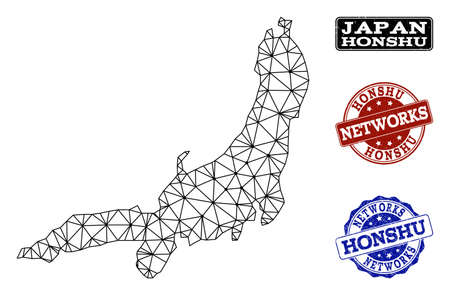 Black mesh vector map of Honshu Island isolated on a white background and rubber stamp seals for networks. Abstract lines, dots and triangles forms map of Honshu Island. Иллюстрация