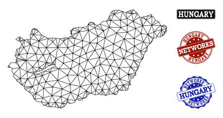 Black mesh vector map of Hungary isolated on a white background and rubber watermarks for networks. Abstract lines, dots and triangles forms map of Hungary.
