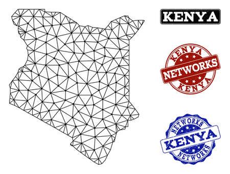 Black mesh vector map of Kenya isolated on a white background and rubber stamp seals for networks. Abstract lines, dots and triangles forms map of Kenya. Иллюстрация