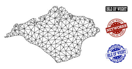 Black mesh vector map of Isle of Wight isolated on a white background and rubber watermarks for networks. Abstract lines, dots and triangles forms map of Isle of Wight. Vetores