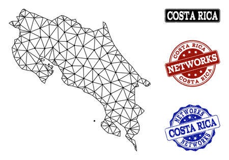 Black mesh vector map of Costa Rica isolated on a white background and rubber watermarks for networks. Abstract lines, dots and triangles forms map of Costa Rica.