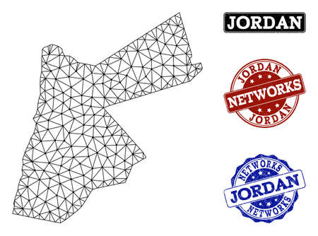Black mesh vector map of Jordan isolated on a white background and scratched watermarks for networks. Abstract lines, dots and triangles forms map of Jordan.