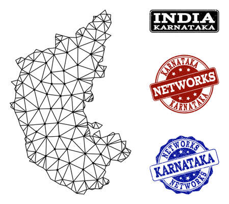 Black mesh vector map of Karnataka State isolated on a white background and rubber watermarks for networks. Abstract lines, dots and triangles forms map of Karnataka State.