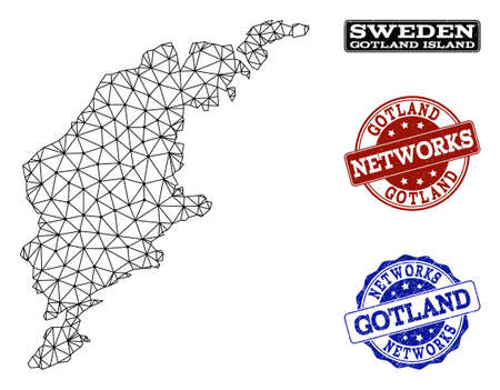 Black mesh vector map of Gotland Island isolated on a white background and scratched watermarks for networks. Abstract lines, dots and triangles forms map of Gotland Island.