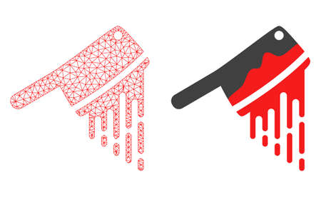 Mesh vector blood butchery knife with flat icon. Red abstract lines, light spots and points forms blood butchery knife icon. Triangle mesh is isolated on a white background.