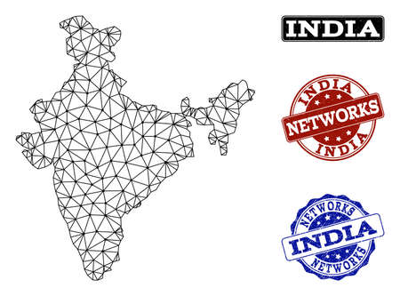 Black mesh vector map of India isolated on a white background and scratched stamp seals for networks. Abstract lines, dots and triangles forms map of India.