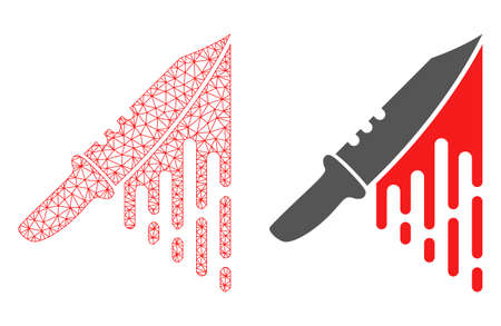 Mesh vector blood knife with flat icon. Red abstract lines, light spots and points forms blood knife icon. Triangle mesh is isolated on a white background. Illustration