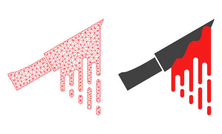 Mesh vector bloody knife with flat icon. Red abstract lines, light spots and points forms bloody knife icon. Triangle mesh is isolated on a white background.