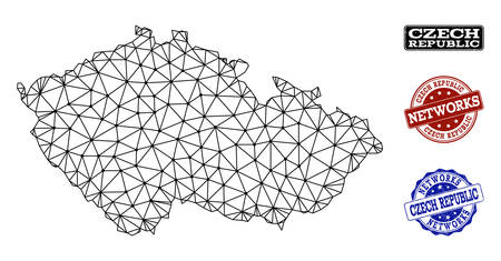 Black mesh vector map of Czech Republic isolated on a white background and scratched stamp seals for networks. Abstract lines, dots and triangles forms map of Czech Republic.