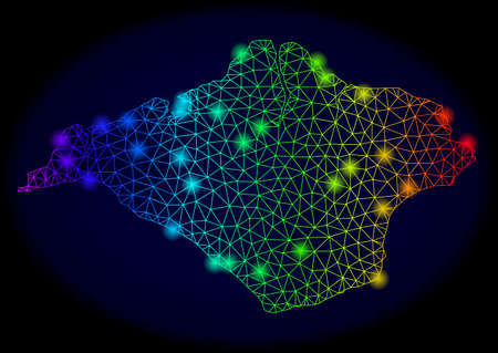 Bright mesh vector map of Isle of Wight with glow effect. Light spots have bright rainbow colors. Abstract lines, triangles, light spots on a dark background with map of Isle of Wight.