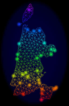 Glamour mesh vector map of North Holland with glare effect. Light spots have bright spectrum colors. Abstract lines, triangles, light spots on a dark background with map of North Holland.