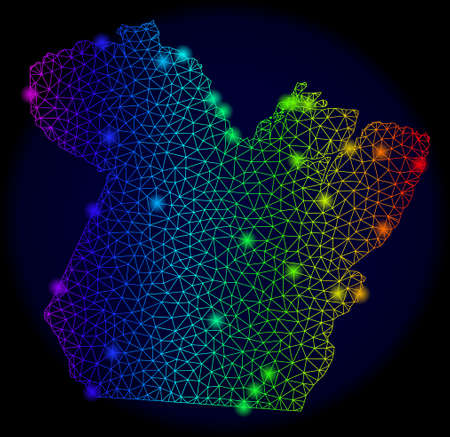 Glossy mesh vector map of Paral State with glare effect. Light spots have bright spectrum colors. Abstract lines, triangles, light spots on a dark background with map of Paral State.