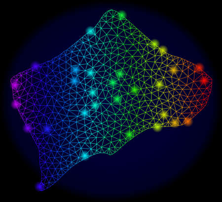 Glossy mesh vector map of Small Inagua Island with glare effect. Light spots have bright rainbow colors. Abstract lines, triangles, glare spots on a dark background with map of Small Inagua Island.
