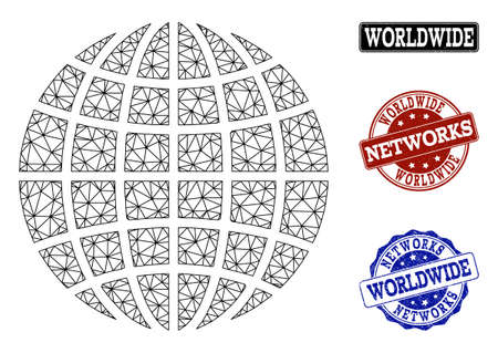 Black mesh vector globe isolated on a white background and rubber stamp seals for networks. Abstract lines, dots and triangles forms globe. Carcass model for political and networking templates.