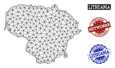 Black mesh vector map of Lithuania isolated on a white background and scratched stamp seals for networks. Abstract lines, dots and triangles forms map of Lithuania.