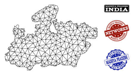 Black mesh vector map of Madhya Pradesh State isolated on a white background and scratched watermarks for networks. Abstract lines, dots and triangles forms map of Madhya Pradesh State.